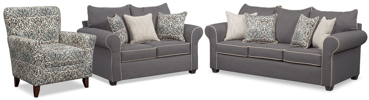 Carla Sofa, Loveseat, And Accent Chair Set – Gray (View 3 of 10)