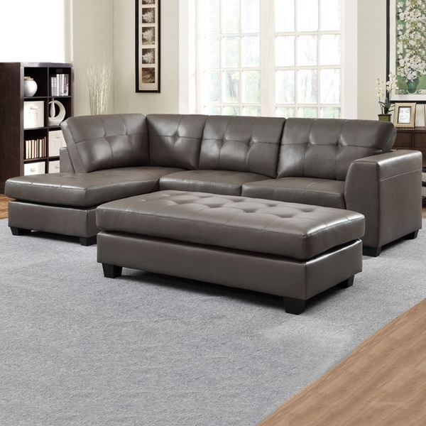 Carmine Grey Bonded Leather Sectional With Chaise And Optional With Regard To Most Current Sectionals With Chaise And Ottoman (View 2 of 10)