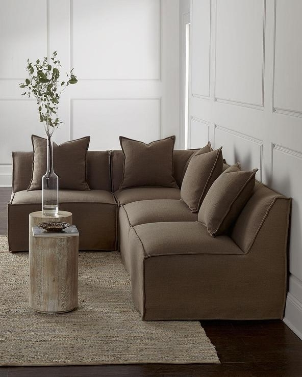 Carson Armless Taupe Sectional Sofa With Regard To Most Current Armless Sectional Sofas (View 4 of 10)