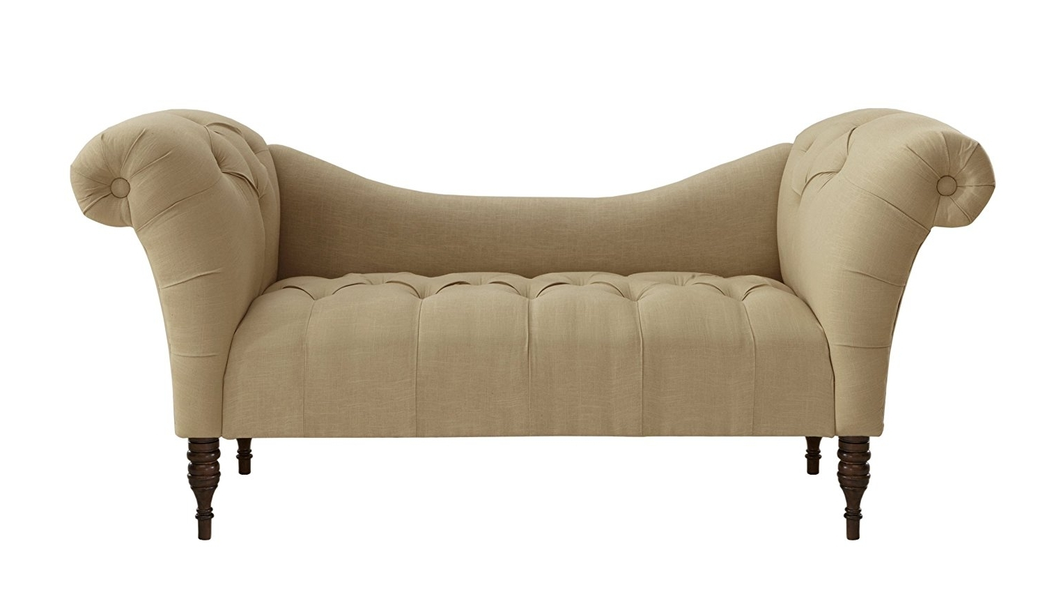 Chaise Benchs Pertaining To Trendy Amazon: Skyline Furniture Tufted Chaise Lounge In Linen (View 4 of 15)