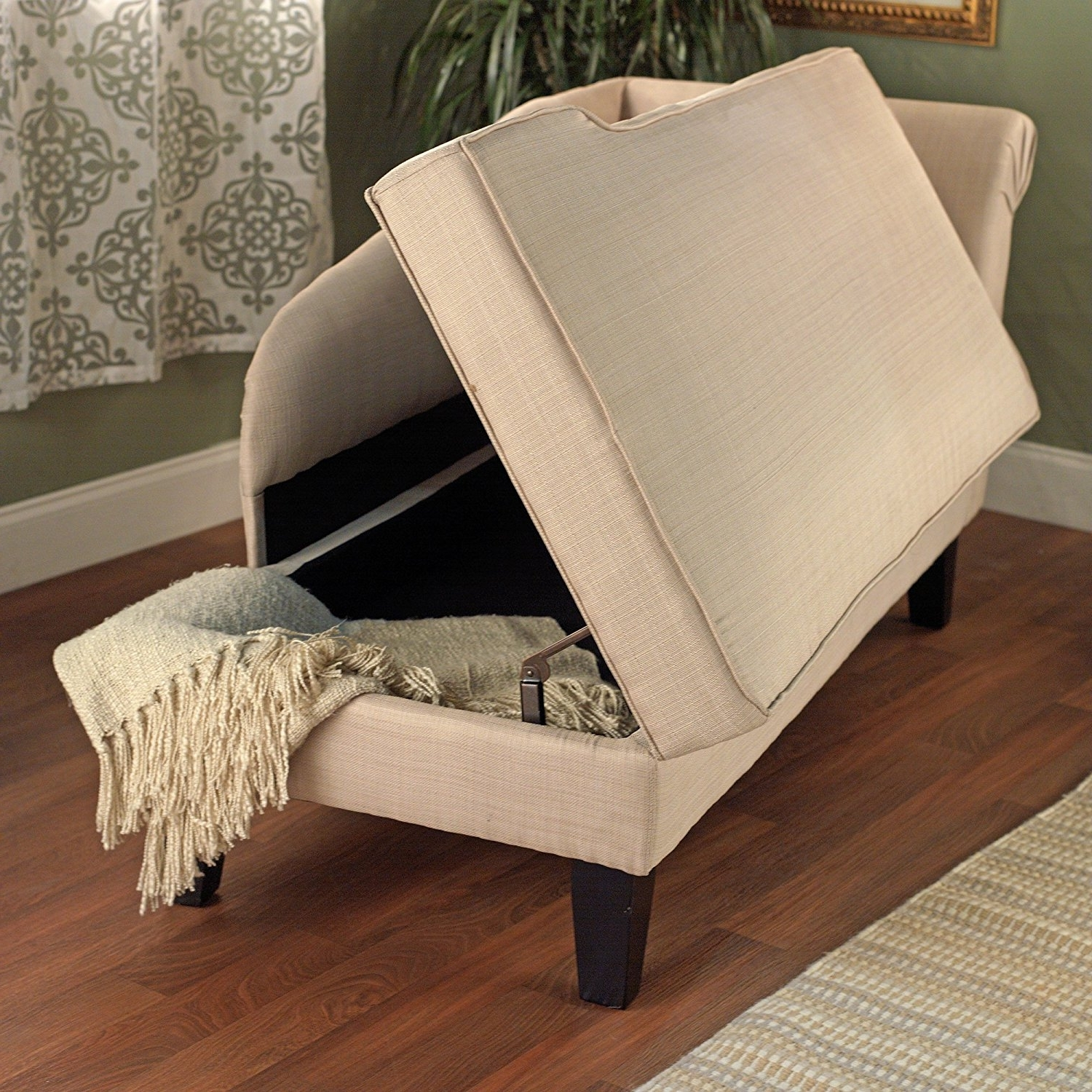 Chaise Lounge Chairs With Storage For Well Known Amazon: Tms Leena Storage Chaise, Beige: Kitchen & Dining (View 3 of 15)