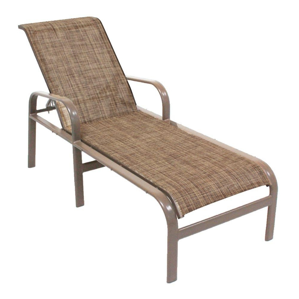 Chaise Lounge Sling Chairs With Popular Marco Island Brownstone Commercial Grade Aluminum Patio Chaise (View 5 of 15)