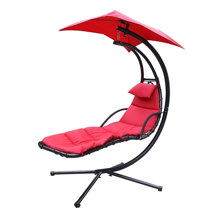 Chaise Lounge Swing Chairs Within 2017 New Swinging Hammock Canopy Lounger Chair Hjh022 – Uncle Wiener's (View 14 of 15)