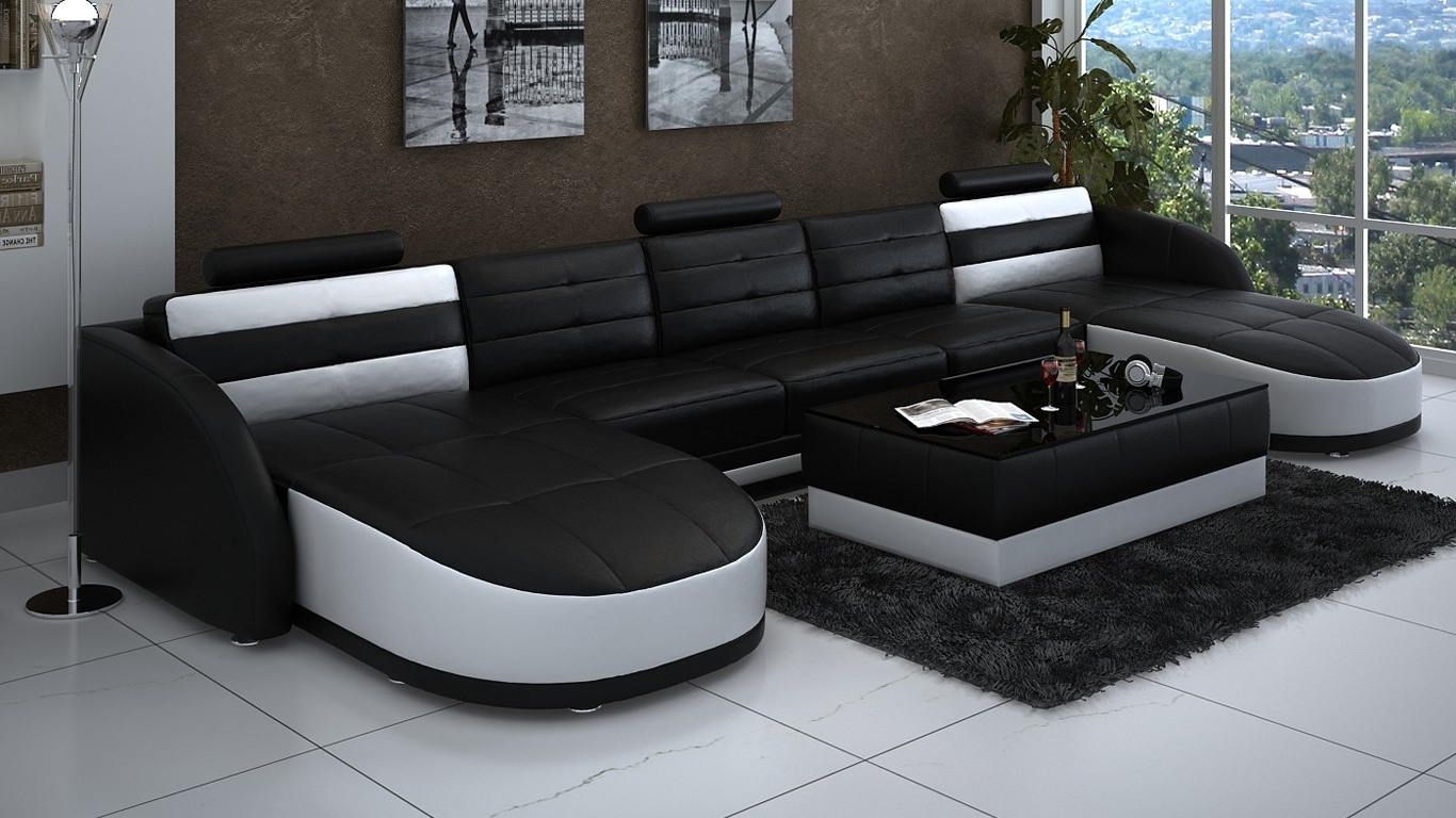 Chaise Sectionals For Best And Newest Leather Double Chaise Sectional In Black And White Plus Rectangle (View 4 of 15)