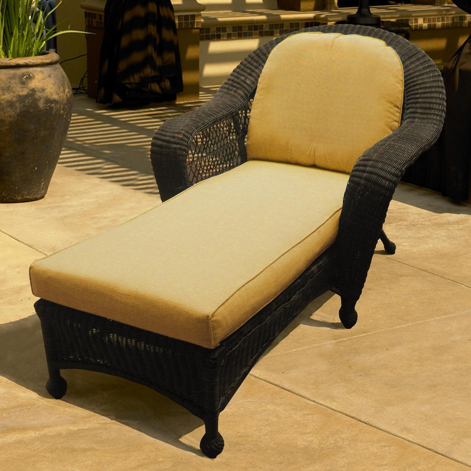 Charleston Wicker Chaise Lounge For 2017 Wicker Chaise Lounge Chairs For Outdoor (View 2 of 15)