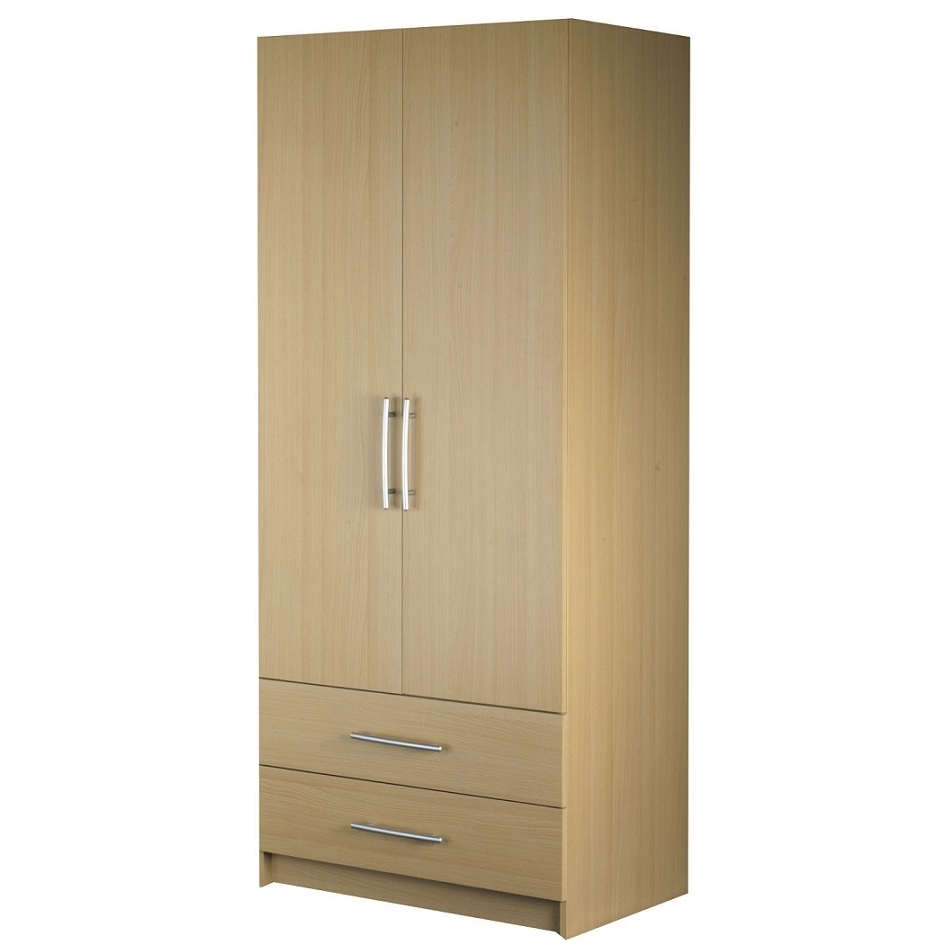 Cheap 2 Door Wardrobes Regarding Best And Newest Standing 2 Door 2 Drawer Door Wardrobe Hpd320 – Free Standing (View 5 of 15)