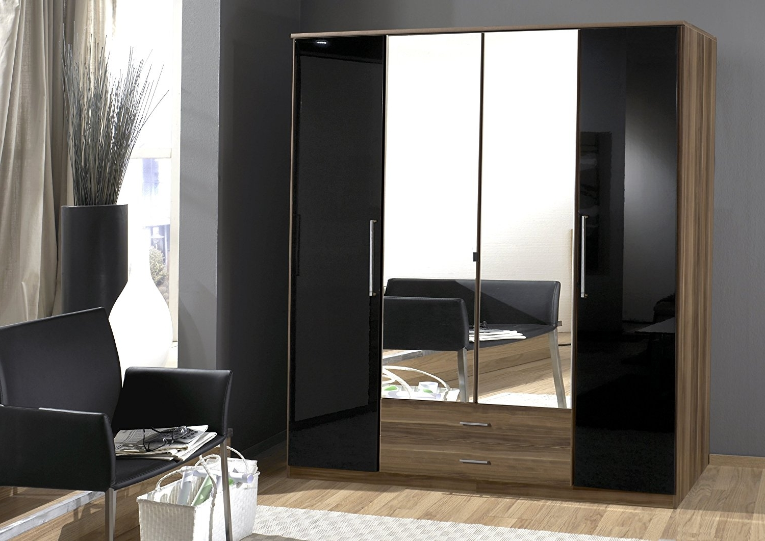 Cheap Black Gloss Wardrobes In 2018 Dresden 4 Door Wardrobe Black Gloss And Walnut Effect (View 6 of 15)