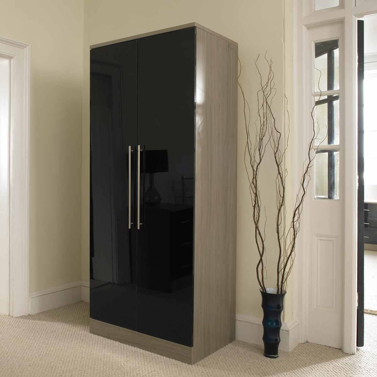 Cheap Black Gloss Wardrobes Intended For Favorite Ready Assembled Wardrobes And Chest Of Drawers Black Gloss For (View 7 of 15)