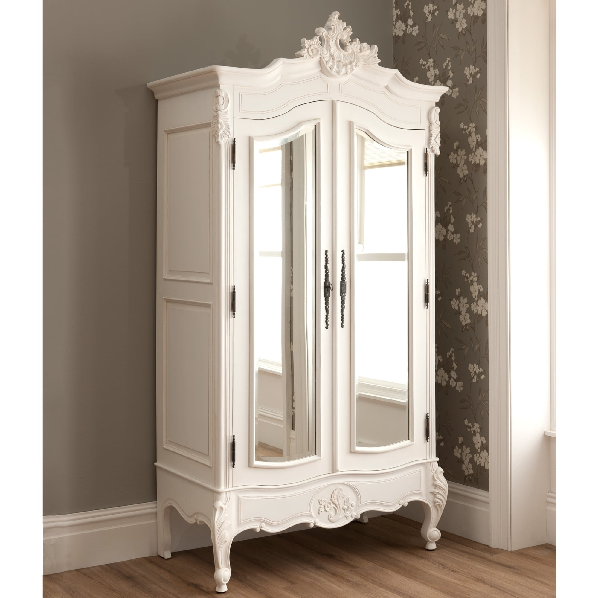 Cheap French Style Wardrobes In 2018 La Rochelle Antique French Mirrored 2 Door Wardrobe (View 1 of 15)