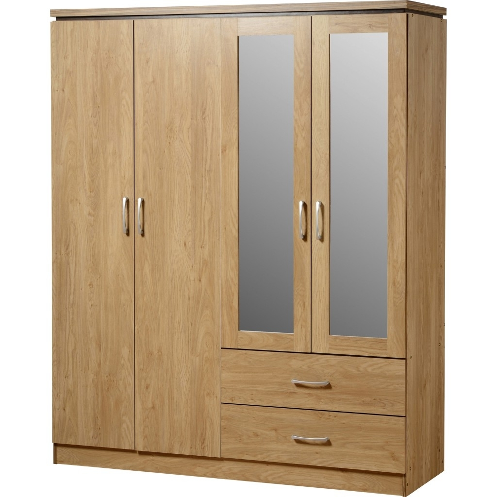 Cheap Wardrobes Sets For Well Known Charles 4 Door 2 Drawer Mirrored Wardrobe (View 6 of 15)