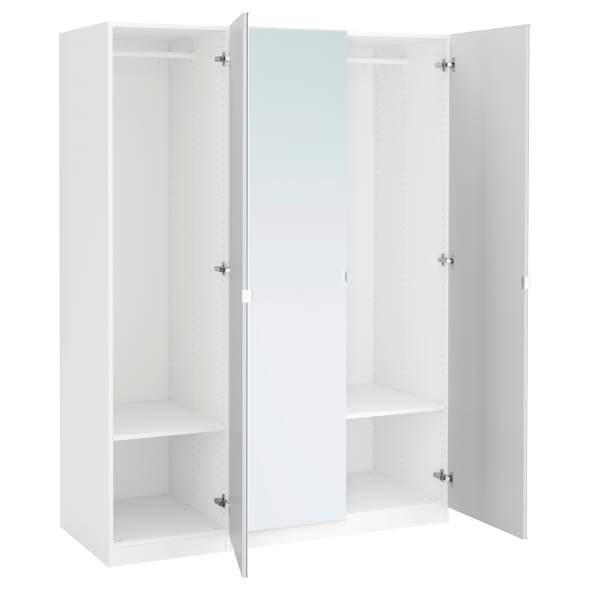 Cheap White Wardrobes Intended For Well Liked Pax Wardrobe White/vikedal Mirror Glass 150X60X201 Cm – Ikea (View 5 of 15)