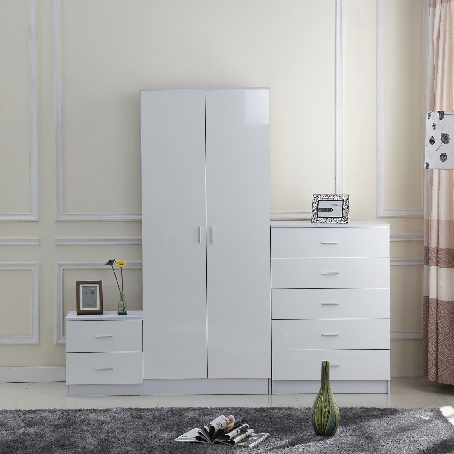 Cheap White Wardrobes Sets Within Well Known Homcom High Gloss 3 Piece Trio Bedroom Furniture Set Wardrobe + (View 9 of 15)