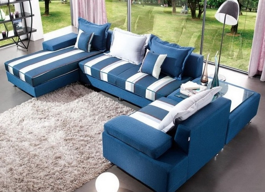 Chic Blue Leather Sectional Sofa U Shaped Couch Living Room Throughout 2017 Blue U Shaped Sectionals (View 4 of 10)