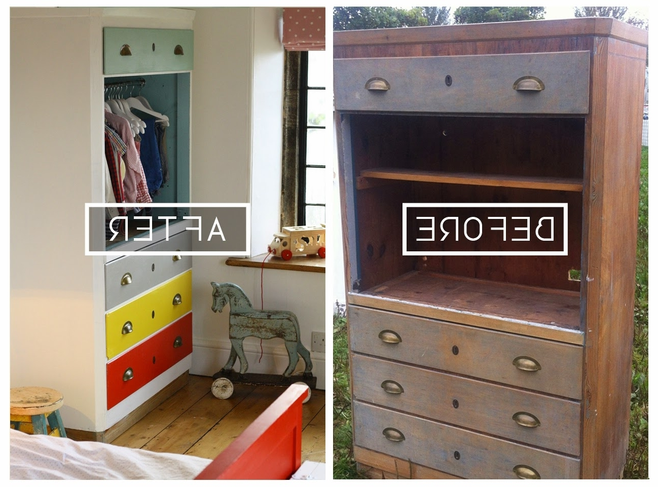 Childrens Tallboy Wardrobes With Regard To Well Known Diy// Upcycle // Converting A Tallboy Into A Children's Wardrobe (View 2 of 15)