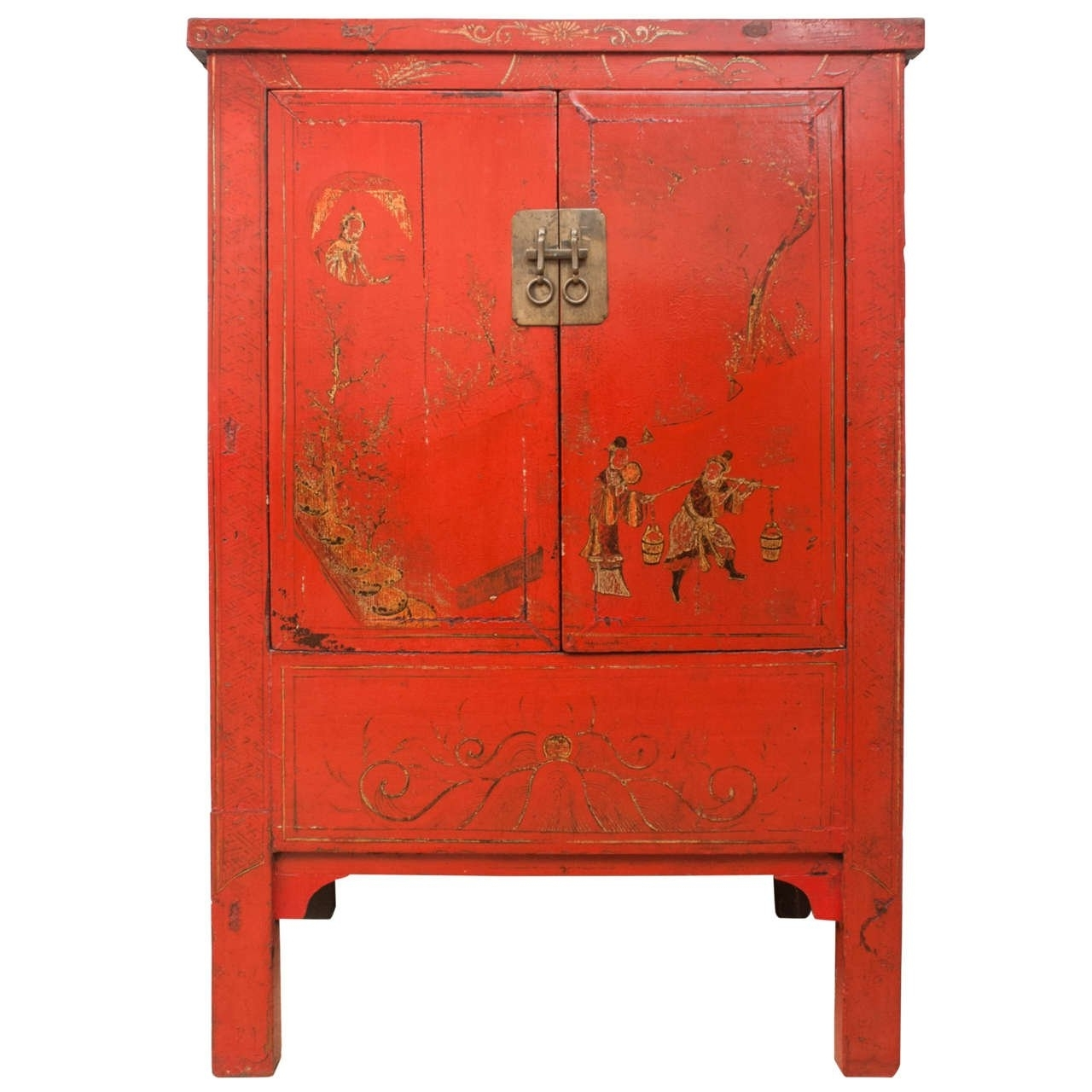 Chinese Red Lacquer Cabinet With Gilt Painting, 19Th Century (View 5 of 15)