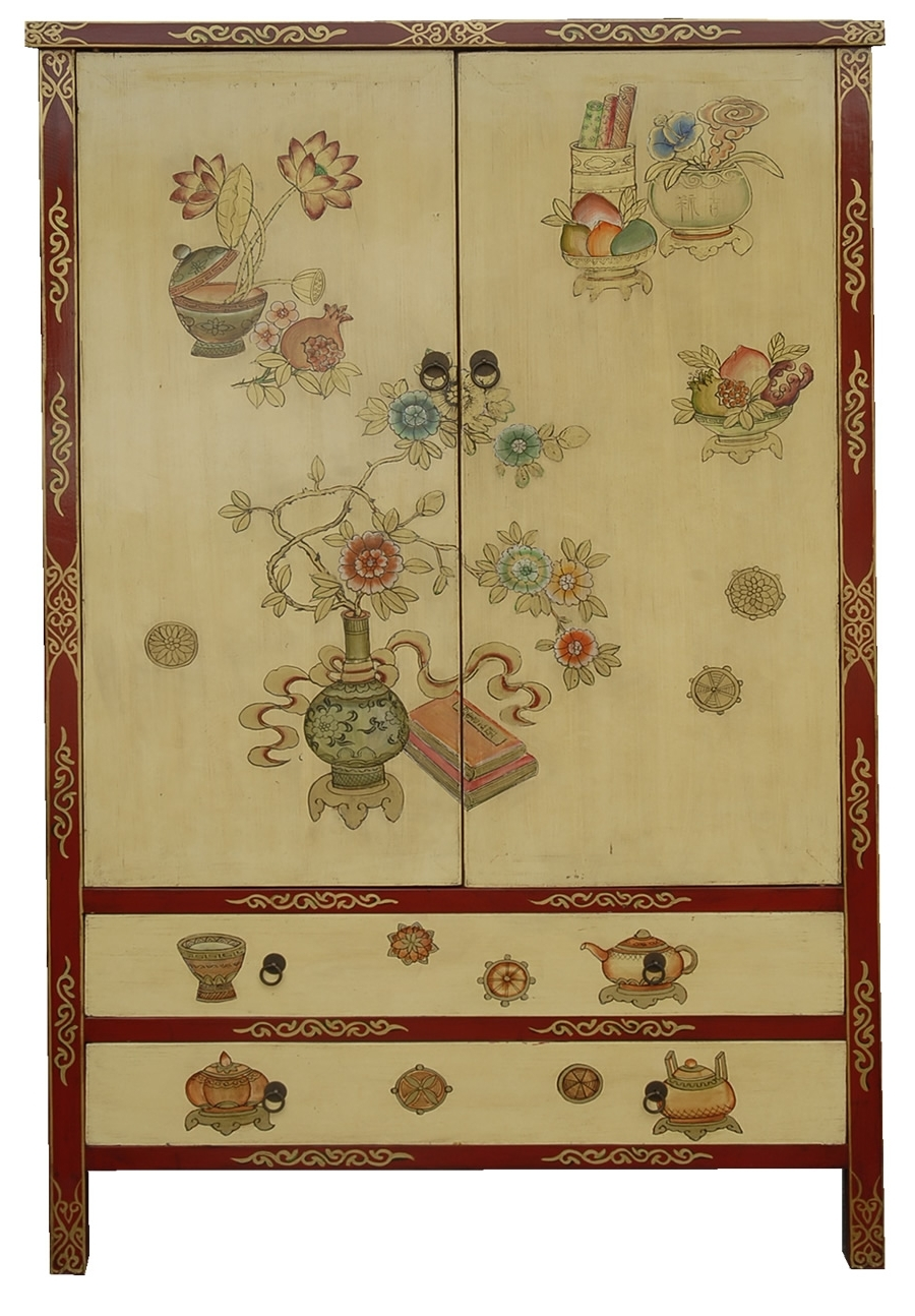 Chinese Wardrobes For Current Y9222C – Chinese Style Hand Painted Wardrobe In Cream (View 6 of 15)