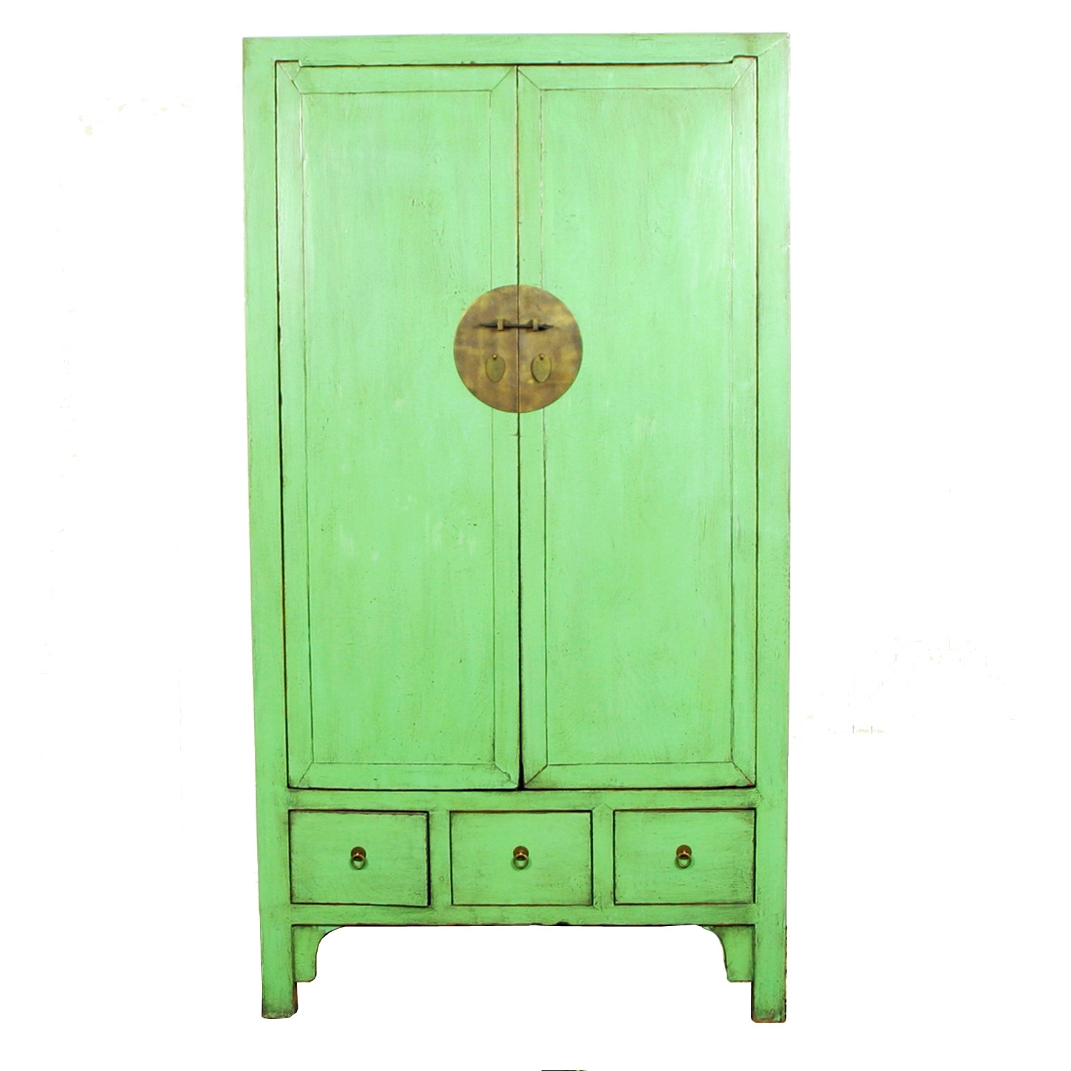 Chinese Wardrobes For Well Known Antique Chinese Pale Green Tall Wardrobe Cabinet (View 7 of 15)