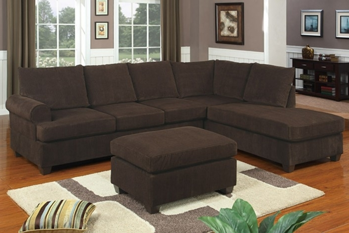 Chocolate Corduroy Sectional Sofa & Ottoman Inside Newest Cheap Sectionals With Ottoman (View 8 of 10)