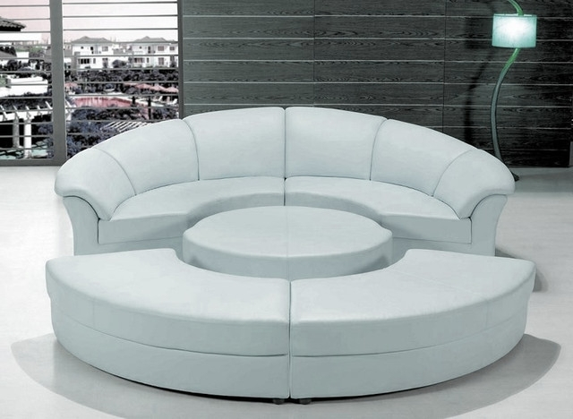 Circular Sectional Sofas With Widely Used Stylish White Leather Circular Sectional Sofa – Modern – Living (View 3 of 10)