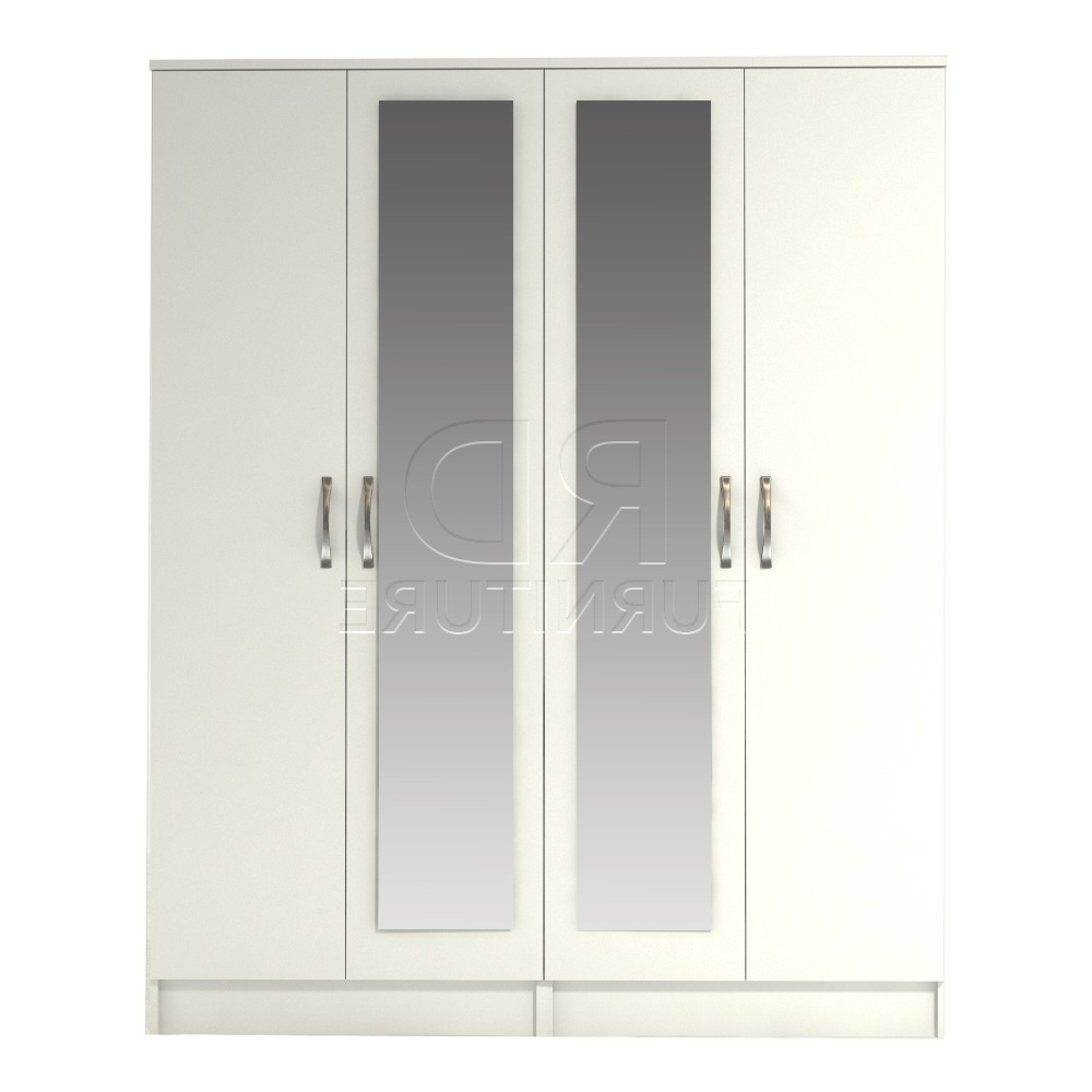 Classic 4 Door Double Mirrored Wardobe White Finish – Rdfurniture Inside Most Recently Released Double Mirrored Wardrobes (View 2 of 15)