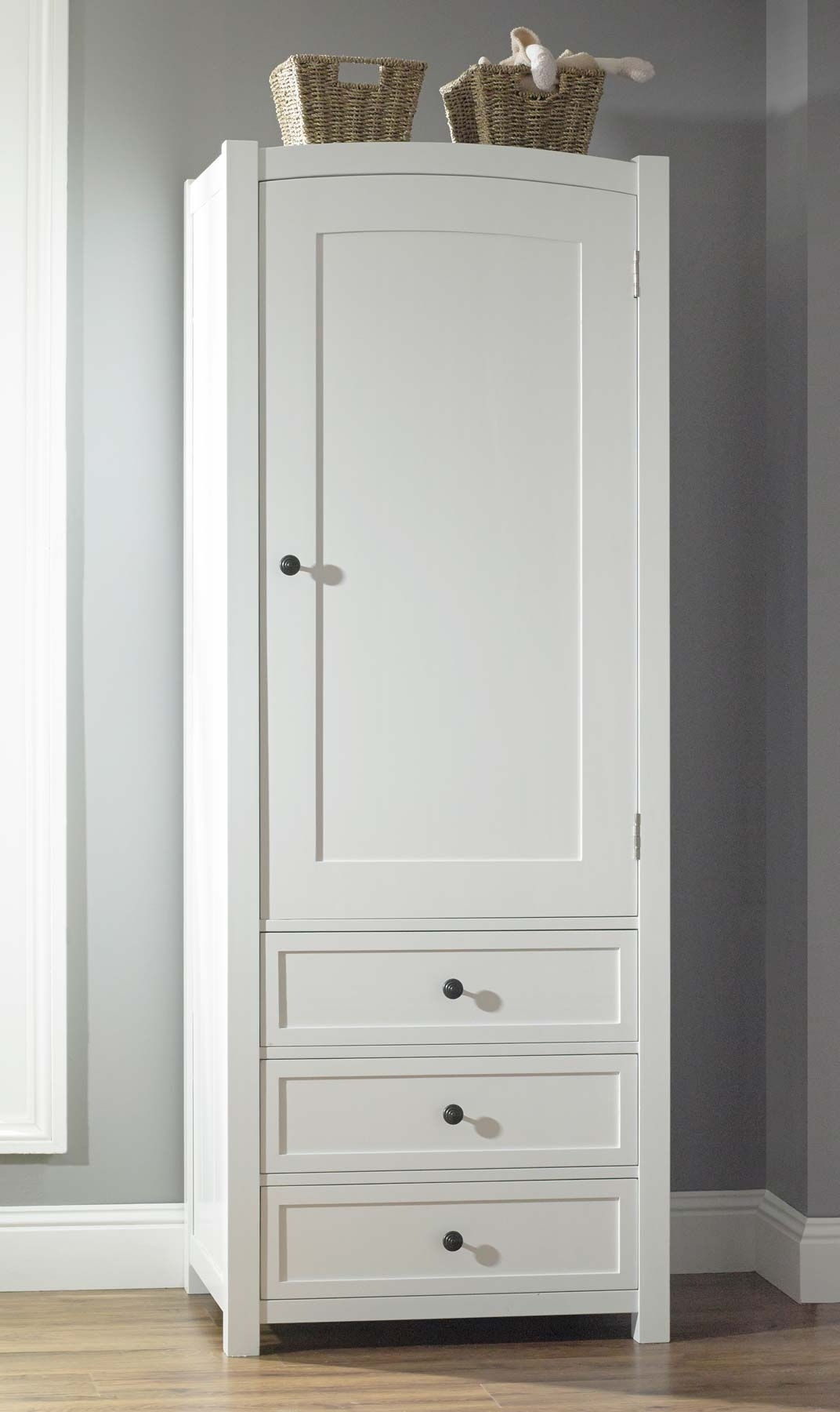 Classic Mirrored White Painted Wooden Wardrobe With Black Knob Regarding Favorite Tall Wardrobes (View 2 of 15)