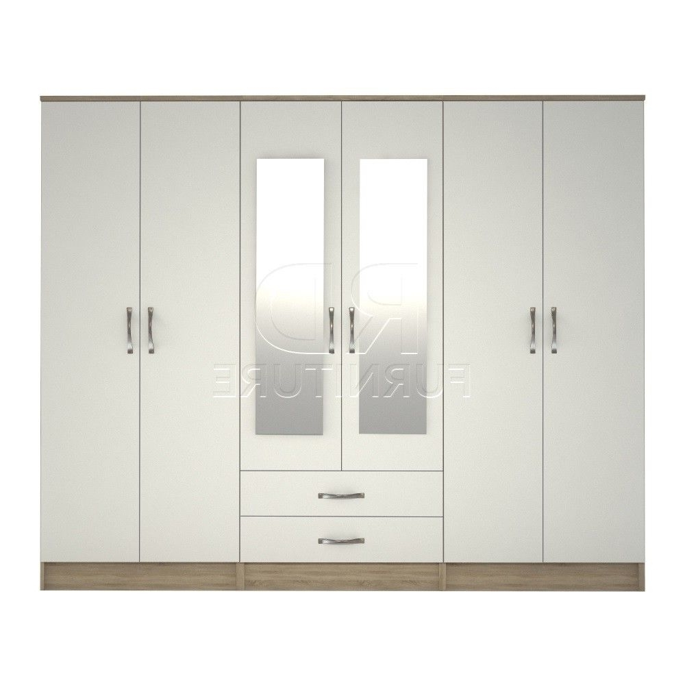 Classic Wardrobe 4 You, 2,28M Wide 6 Door Oak And White Wardrobe With Recent 4 Door White Wardrobes (View 5 of 15)