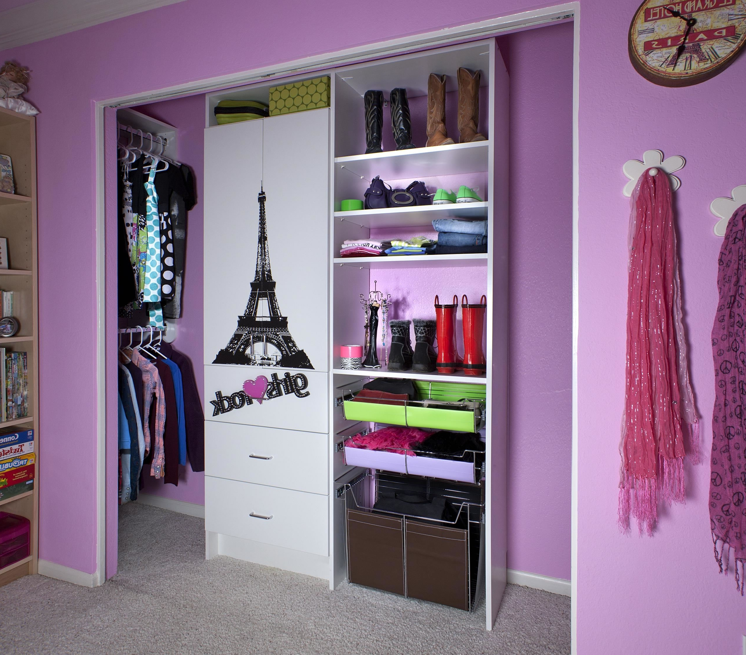 Closet & Storage : Girls Rock Closet Wardrobe Ideas With Sliding Pertaining To Most Recent Girls Wardrobes (View 4 of 15)