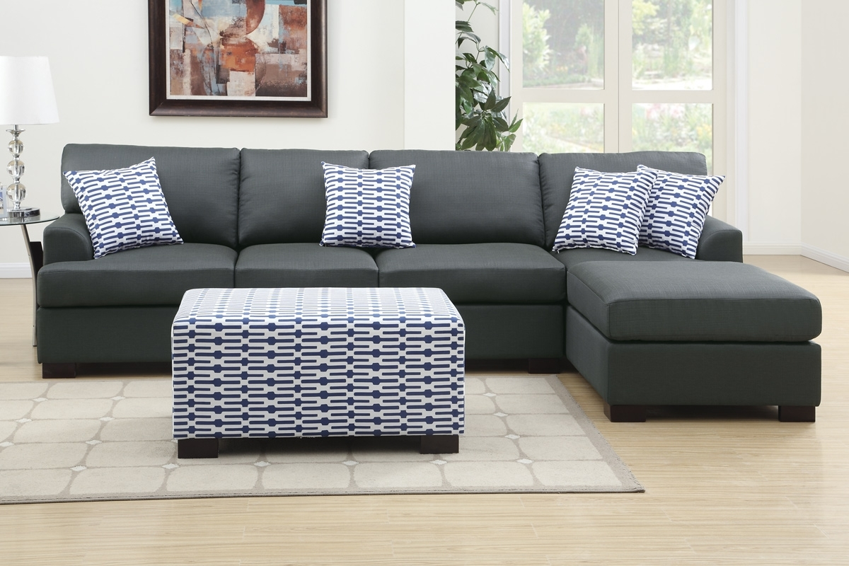 Coastal Dark Grey Sectional Sofa W/ Chaise Lounge With Recent Sofas With Reversible Chaise (View 1 of 15)