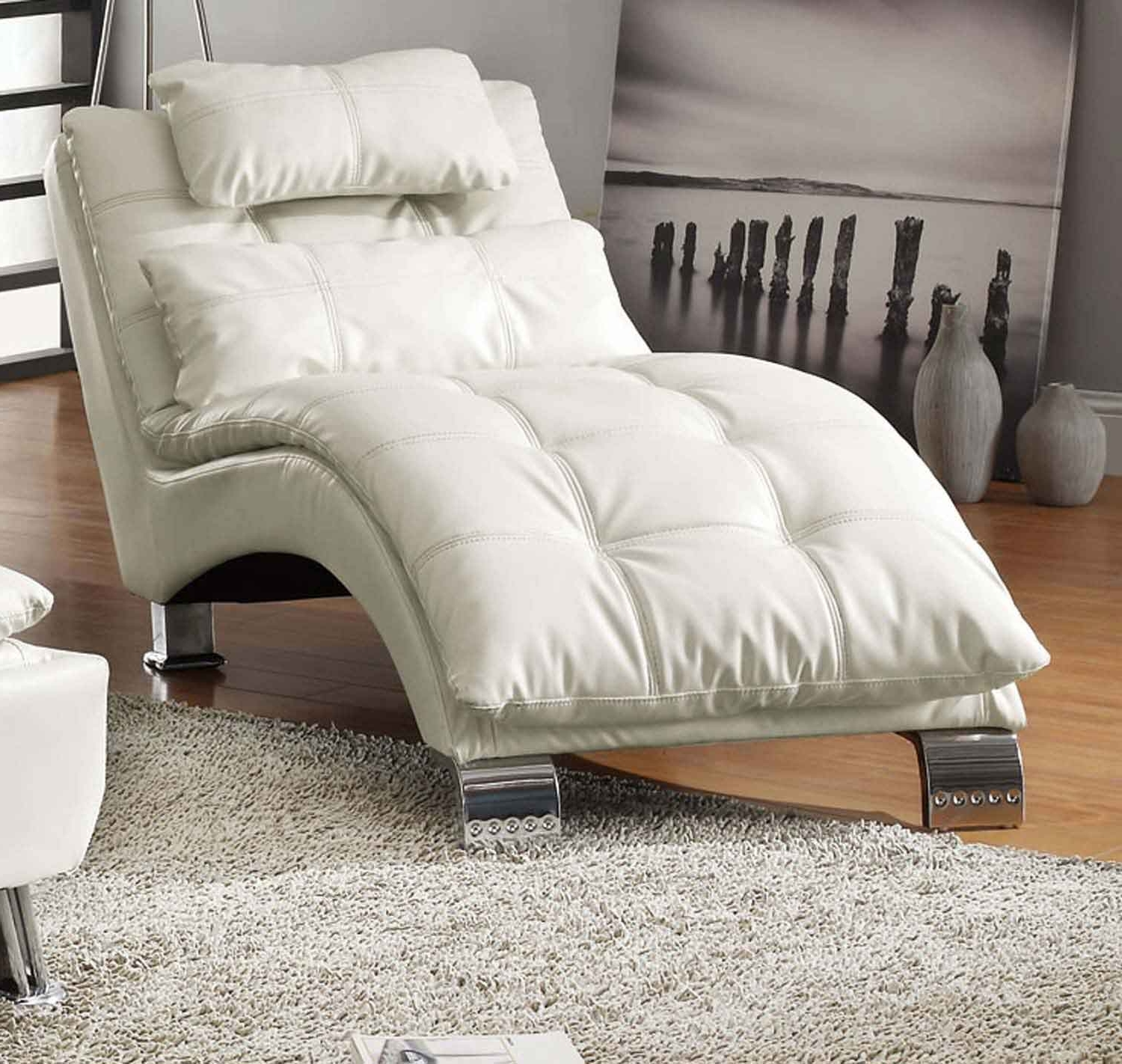 Coaster Chaise Lounges With Most Current Coaster Dilleston Chaise – White 550078 At Homelement (View 5 of 15)