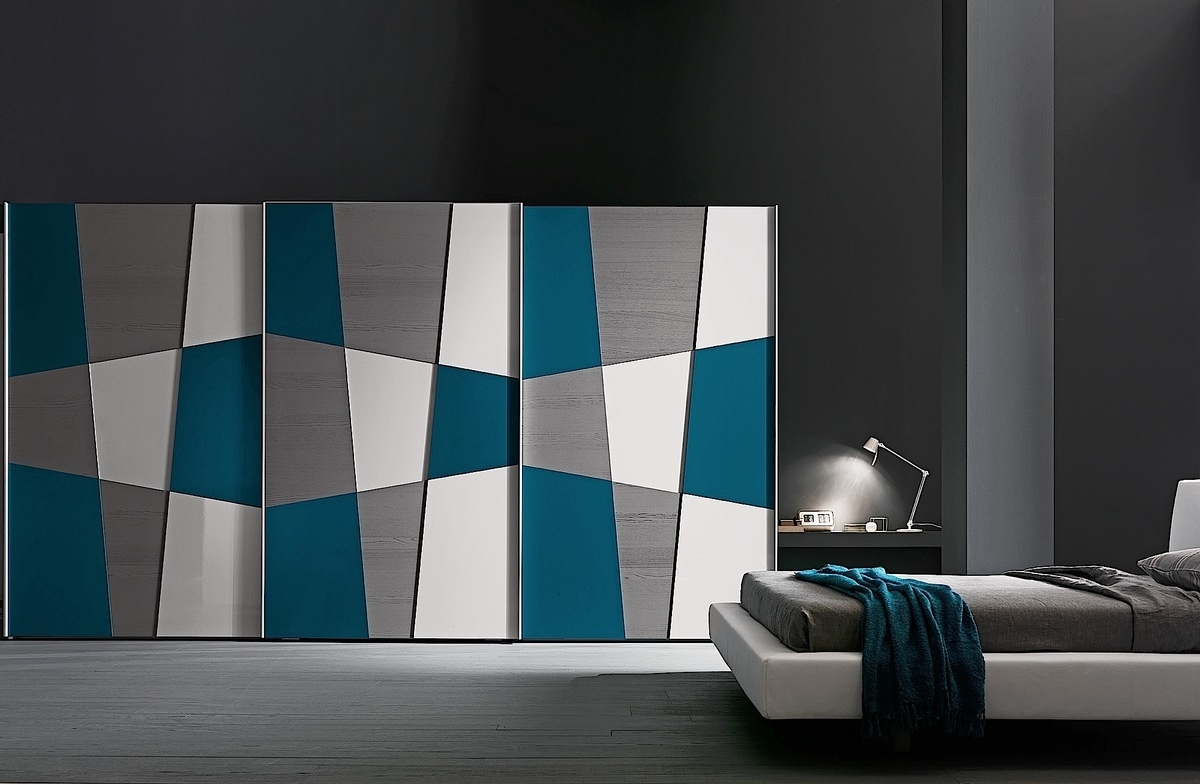 Coloured Wardrobes Within Most Recently Released Presotto Shape Geometric Design Wardrobe Multi Coloured Doors (View 9 of 15)