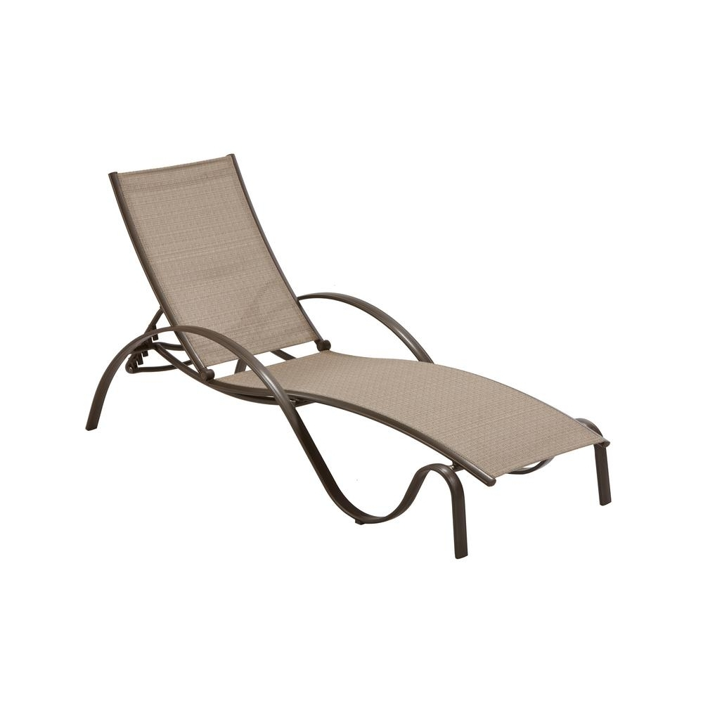 Commercial Grade Chaise Lounge Chairs For Best And Newest Hampton Bay Commercial Grade Aluminum Brown Outdoor Chaise Lounge (View 1 of 15)