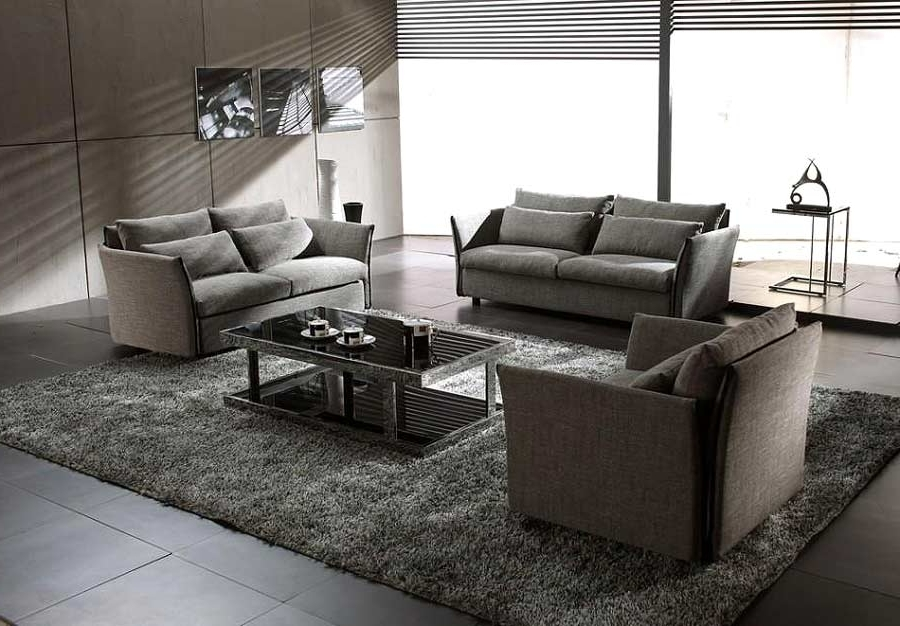 Contemporary Fabric Sofas In Current Grey Modern Contemporary Fabric Sofa Set Vg Vip (View 1 of 10)