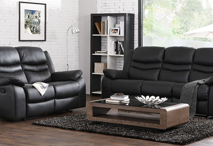 Contour Midnight Black Reclining 3 + 2 + 1 Seater Leather Sofa Set With Well Known 2 Seater Recliner Leather Sofas (View 5 of 15)