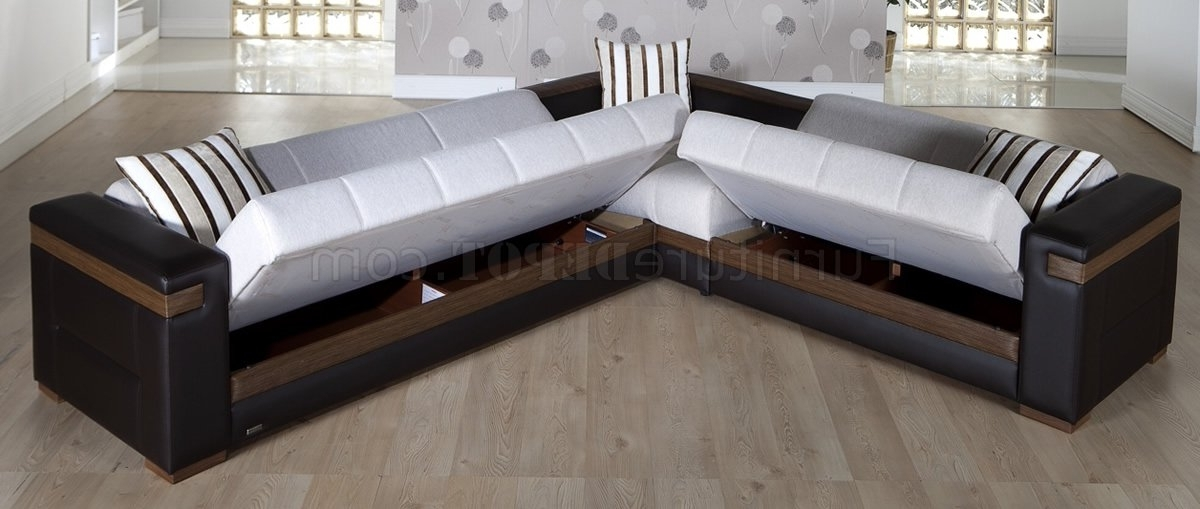 Convertible Sectional Sofas Within Popular Fabric & Dark Leatherette Convertible Sectional Sofa Bed (View 3 of 10)