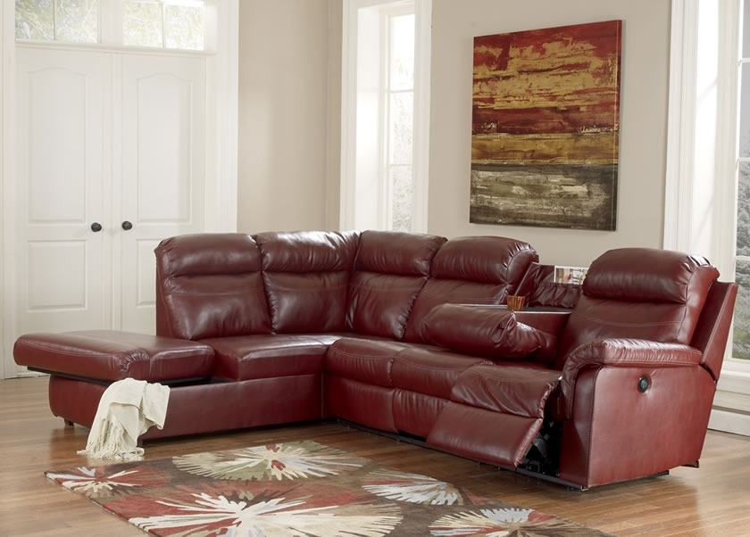Cool Red Leather Sectional Sofa With Recliners Centerfieldbar Pertaining To Most Popular Small Red Leather Sectional Sofas (View 10 of 10)