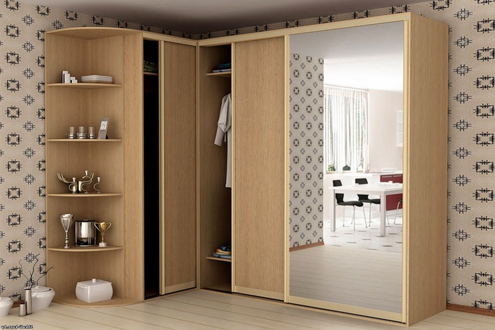Corner Mirrored Wardrobes With Regard To 2017 Rustic Wooden Wardrobe Design With Sliding Door And Mirror Also (View 14 of 15)