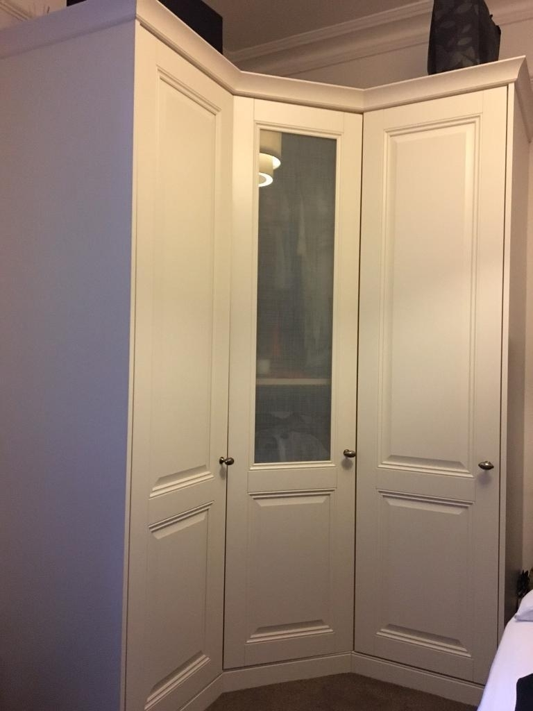 Corner Wardrobe Unit From Schreiber In Cream With Centre Frosted Inside Favorite Corner Wardrobes (View 3 of 15)