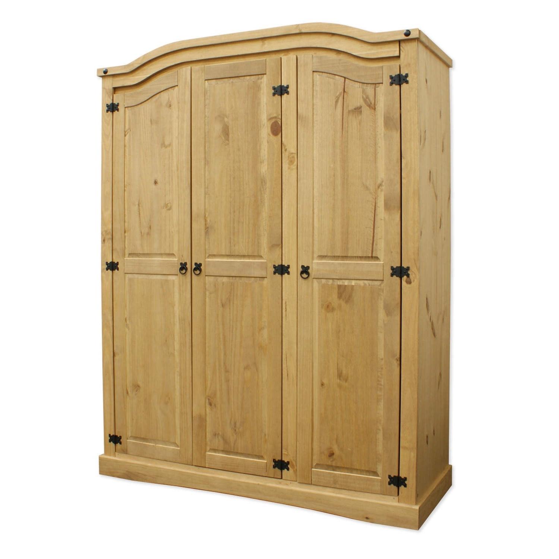 Corona Wardrobes With 3 Doors For 2018 Mexican Rustic Solid Wooden Pine Corona 3 Door Wardrobe + Shelves (View 6 of 15)