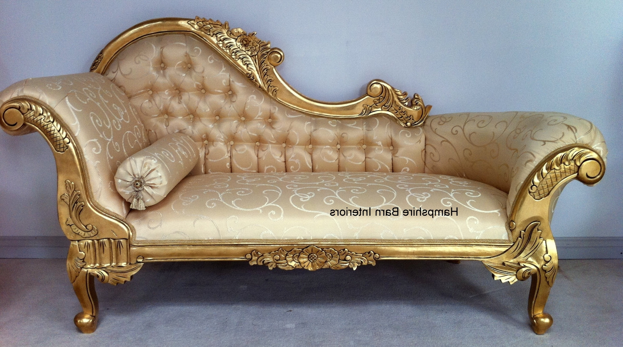 Cream And Gold Colours For Chaise Lounge : 15 Breathtaking Cream For Favorite Gold Chaise Lounge Chairs (View 3 of 15)