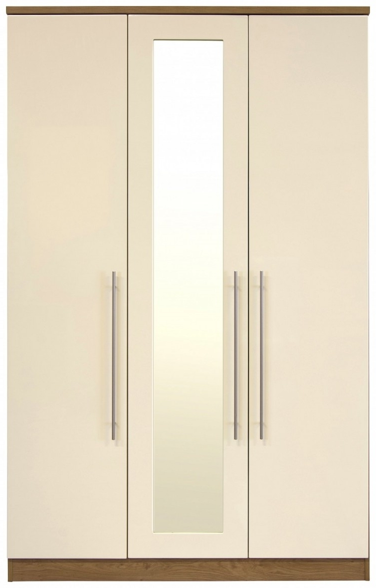 Cream Gloss Wardrobes Pertaining To Latest Gfw Keswick 3 Door Cream Gloss Wardrobe With Mirrorsgfw (View 3 of 15)