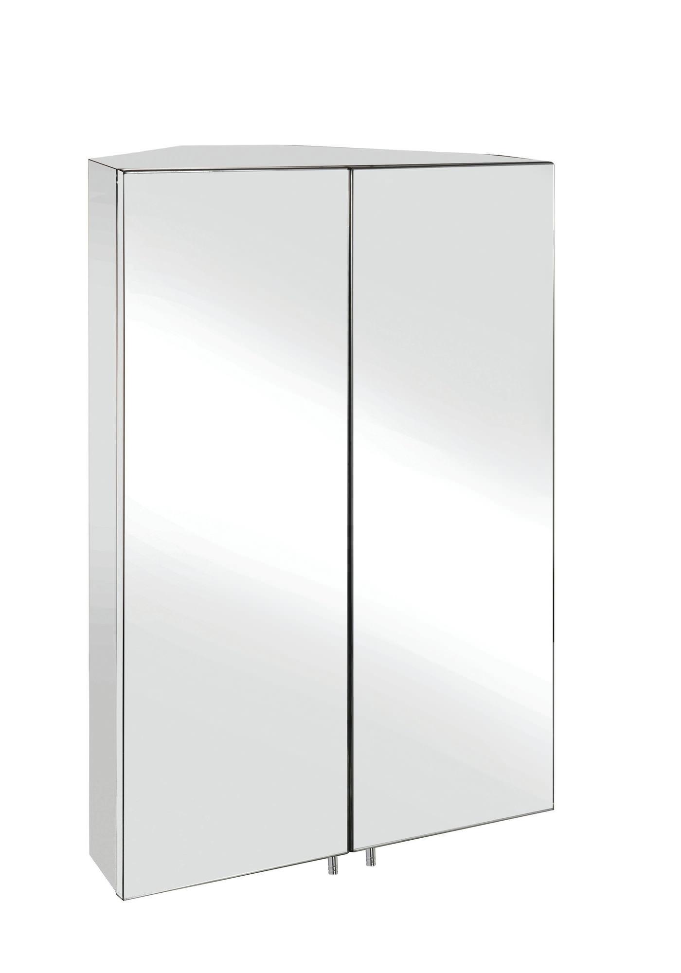 Croydex Avisio Stainless Steel Double Door Corner Mirror Cabinet With Current Corner Mirrored Wardrobes (View 10 of 15)