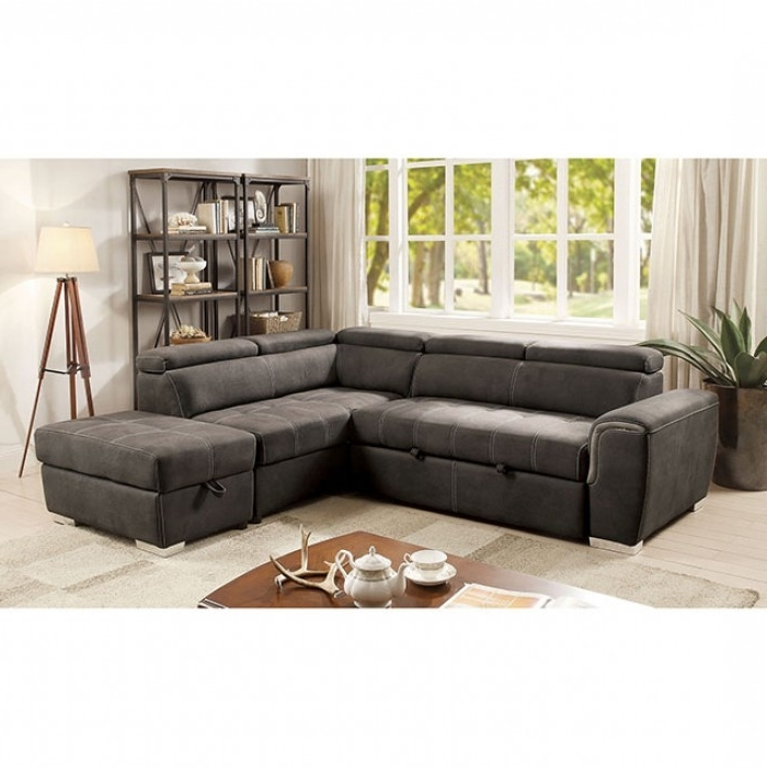 Current 2 Pc Lorna Collection Graphite Fabric Upholstered Sectional Sofa In 3 Piece Sectional Sleeper Sofas (View 4 of 15)
