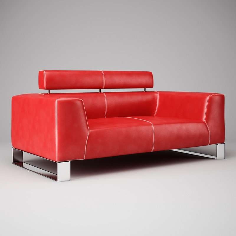 Current 3D Model Red Leather Sofa  (View 2 of 10)