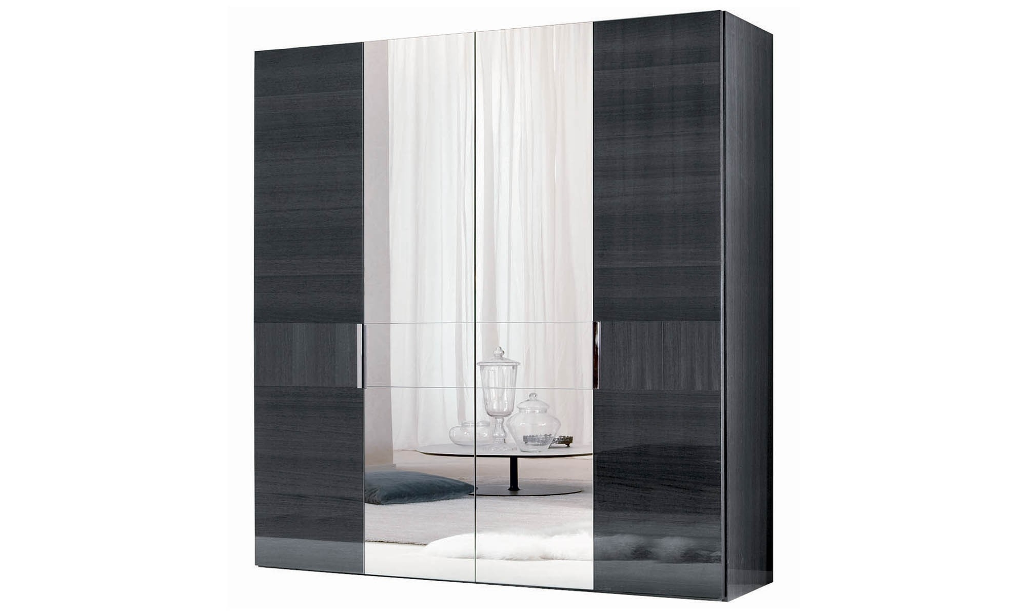 Current 4 Door Wardrobes Within Antibes – 4 Door Hinged Wardrobe Centre Mirror Doors Finish – All (View 7 of 15)