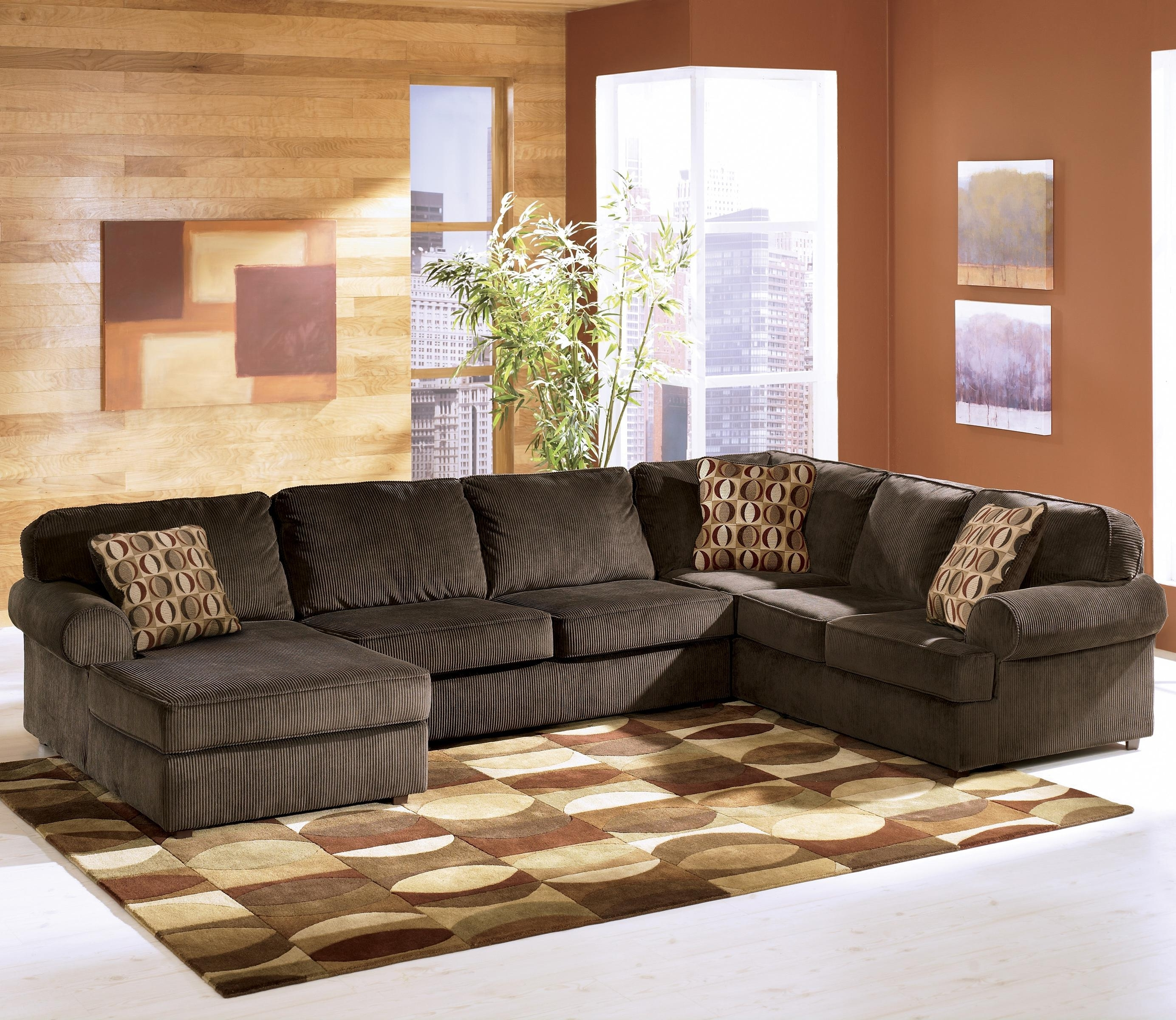 Current Ashley Furniture Vista – Chocolate Casual 3 Piece Sectional With In 3 Piece Sectional Sofas With Chaise (View 3 of 15)