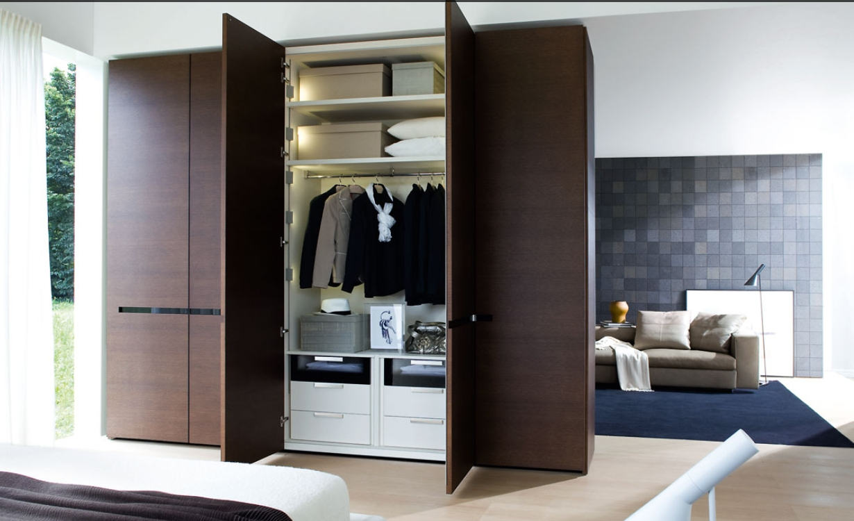 Current Brown Wardrobes Pertaining To Modern Wardrobes Designs With Mirror For Bedrooms Ideas Also (View 5 of 15)