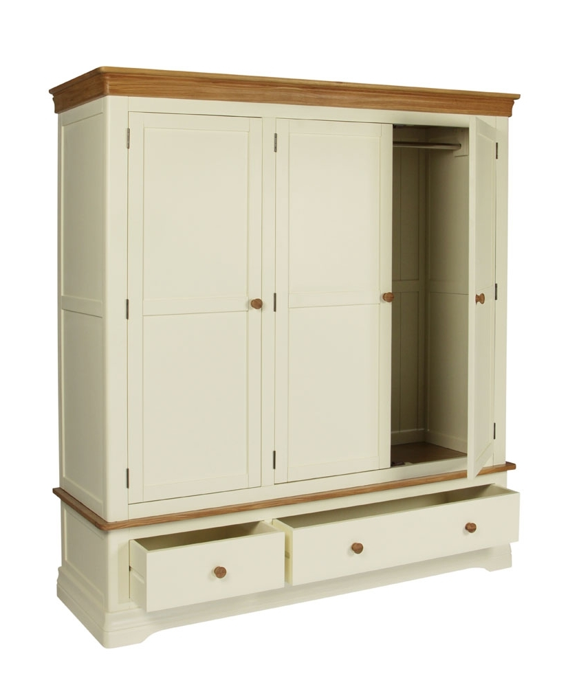 Current Cream Triple Wardrobes Throughout Farmhouse Country Oak Cream Painted Triple Wardrobe (View 5 of 15)