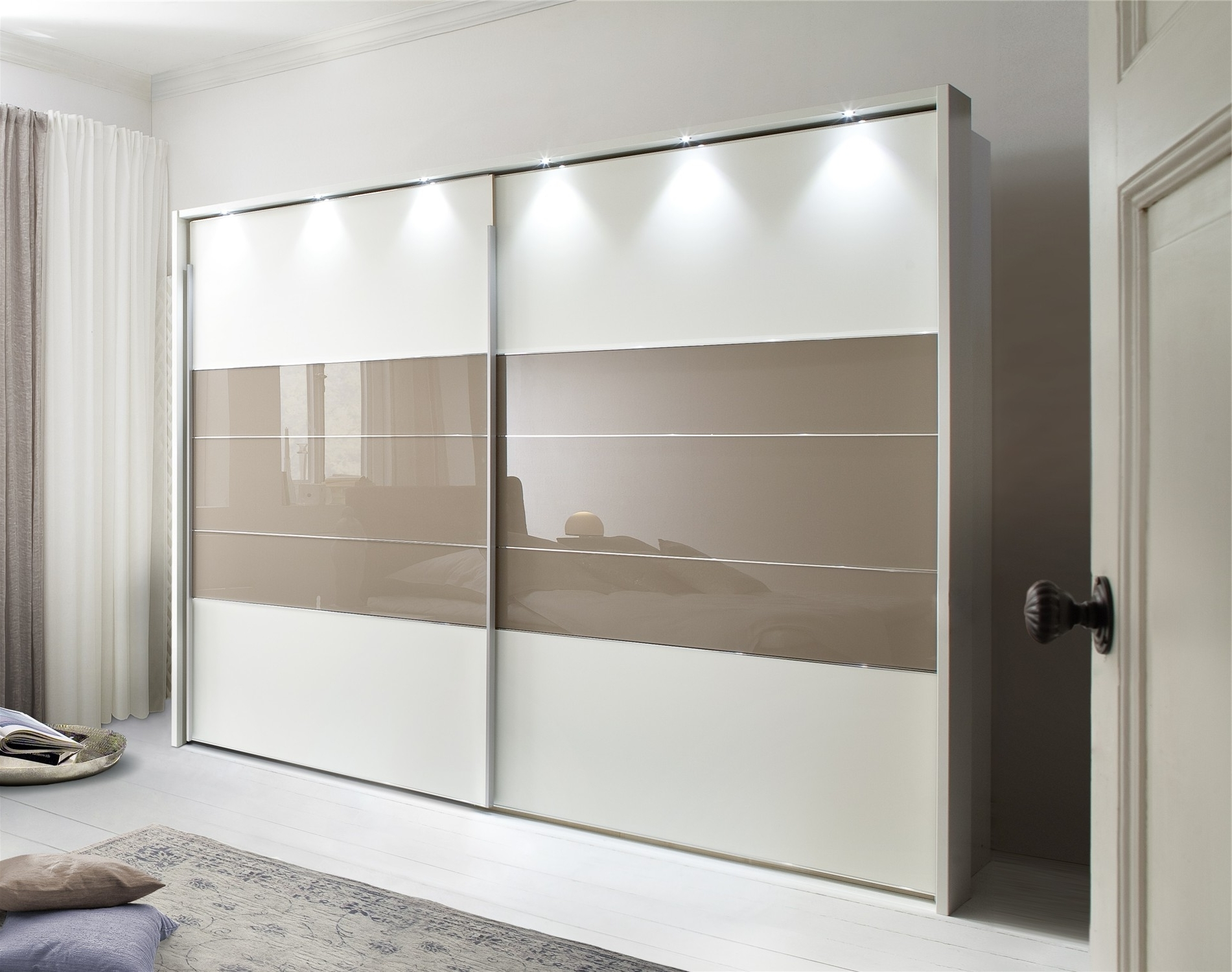 Current Double Wardrobes With Mirror In Mirror Design Ideas: Wood Glass Wardrobe With Mirror Sliding Doors (View 2 of 15)