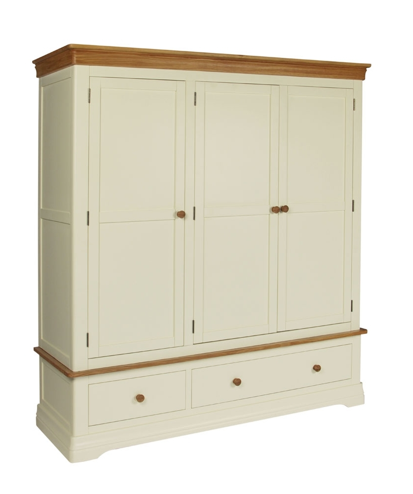 Current Farmhouse Country Oak Cream Painted Triple Wardrobe Pertaining To Cream Wardrobes (View 3 of 15)