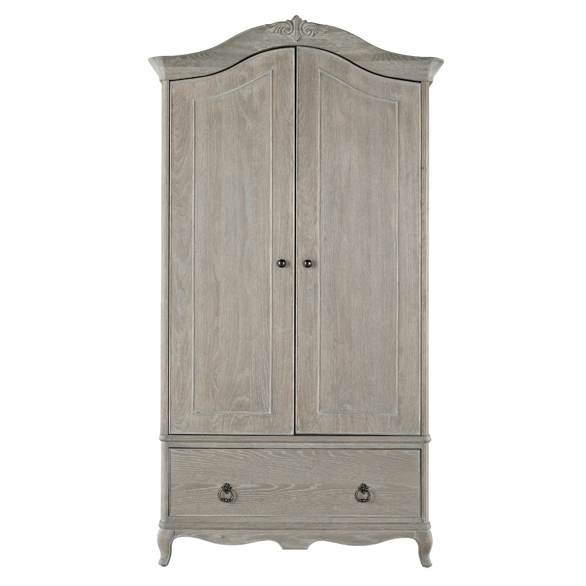 Current French Style Wardrobes Within Camille French Style Double Wardrobe, Washed Oak (View 8 of 15)